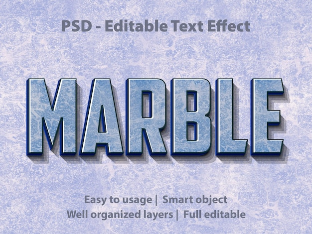 Effet de texte modifiable marble premium