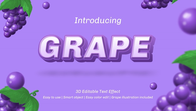 Effet de texte modifiable de raisin 3d