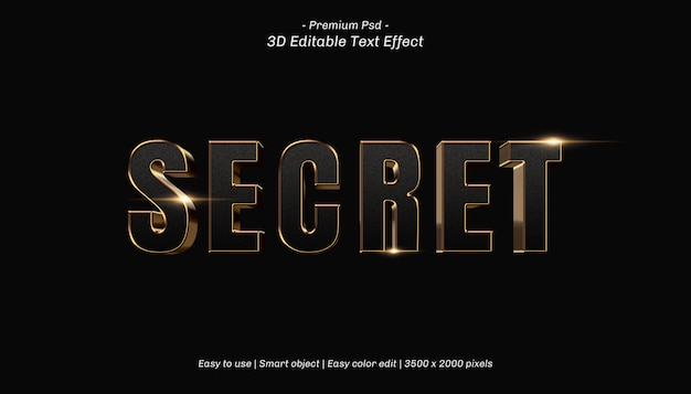 Effet de texte modifiable secret 3d