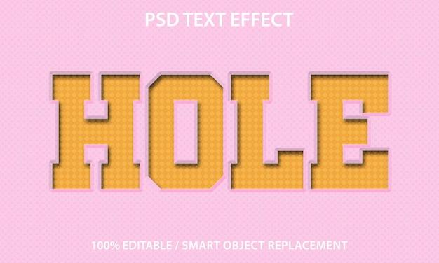 Effet de texte modifiable trou premium