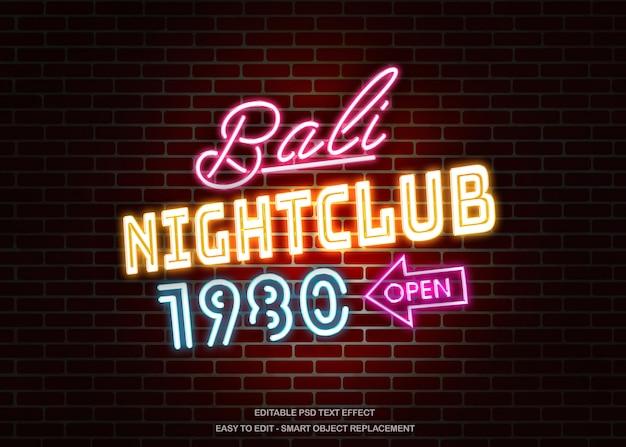 Effet de texte de mur néon de boîte de nuit