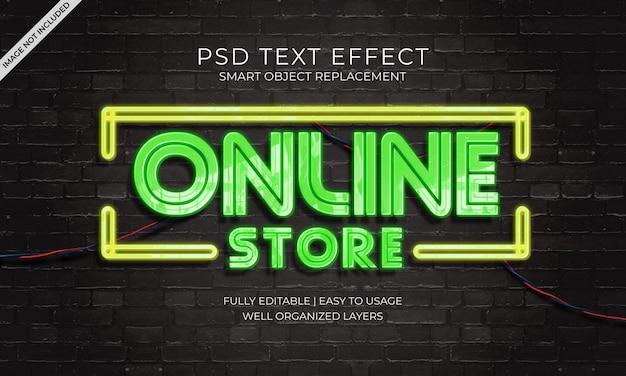 Effet de texte neon de boutique en ligne