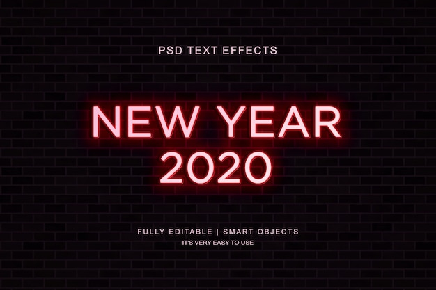Effet de texte néon nouvel an