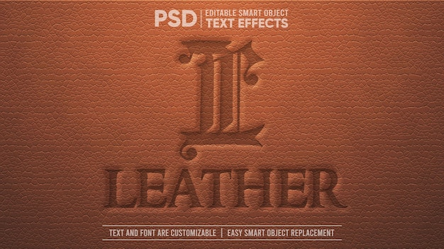 Effet De Texte D'objet Intelligent Modifiable En Cuir Vintage Marron PSD Premium