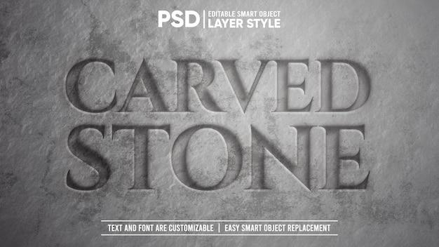 Effet de texte d'objet intelligent de style de calque modifiable en pierre sculptée réaliste en 3d