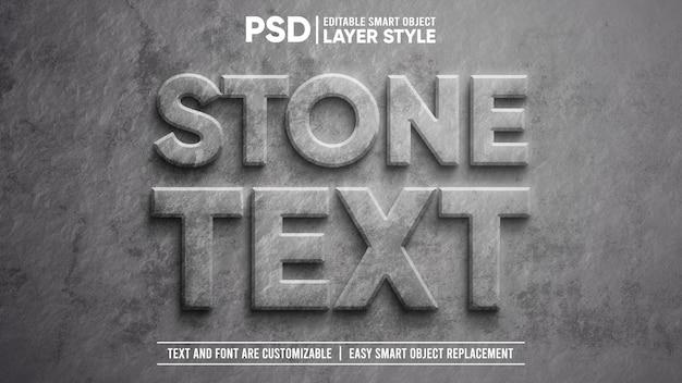 Effet de texte d'objet intelligent de style de couche modifiable en pierre en relief sculpté réaliste en 3d