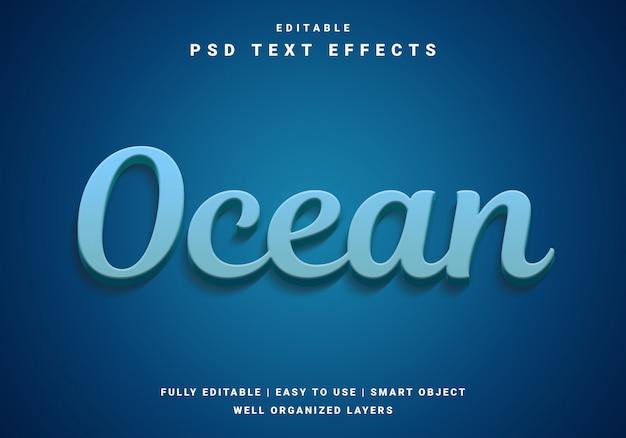 Effet de texte océanique 3d moderne