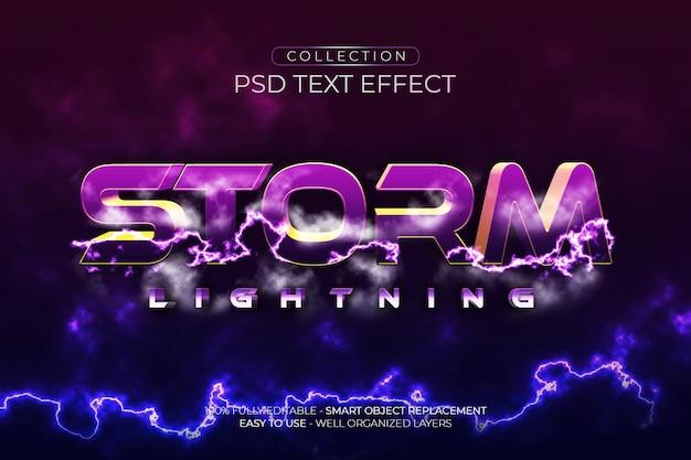 Effet de texte personnalisé de foudre de tempête