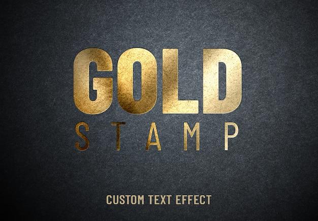 Effet de texte personnalisé de timbre d'or