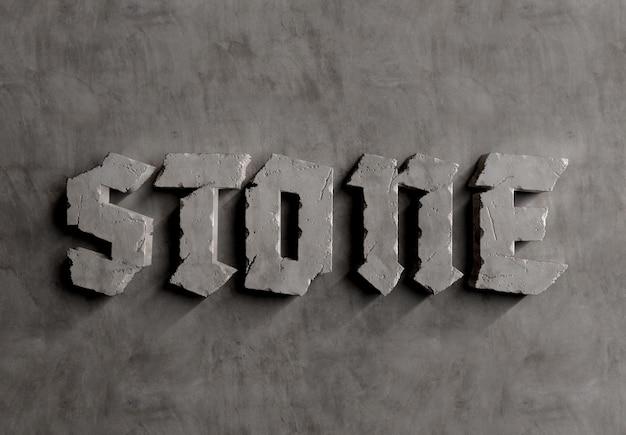 Effet de texte en pierre 3d sur maquette en béton