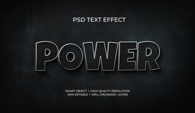 Effet de texte power 3d basé sur un modèle