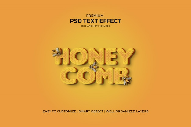 Effet de texte psd style nid d'abeille 3d