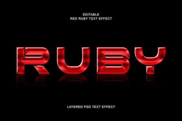 Effet Texte Rubis Rouge PSD Premium