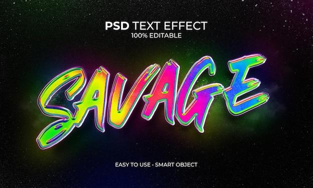 Effet de texte savage neon chrome
