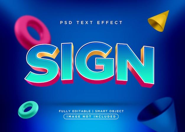 Effet de texte de signe de style 3d