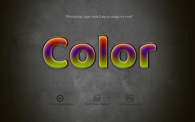 Effet de texte de style de calque photoshop couleur 3d brillant
