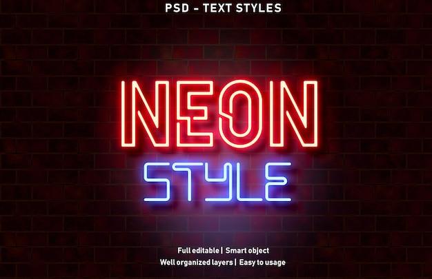 Effet de texte de style néon