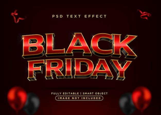 Effet de texte vendredi noir de style 3d