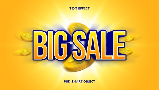 Effet de texte de vente 3d avec thème de couleur jaune et bleu.