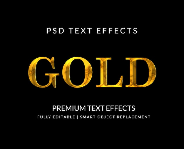 Effets de texte de luxe or isolés sur fond noir