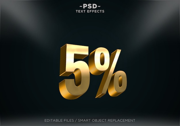 Effets de texte modifiables de style golden discount