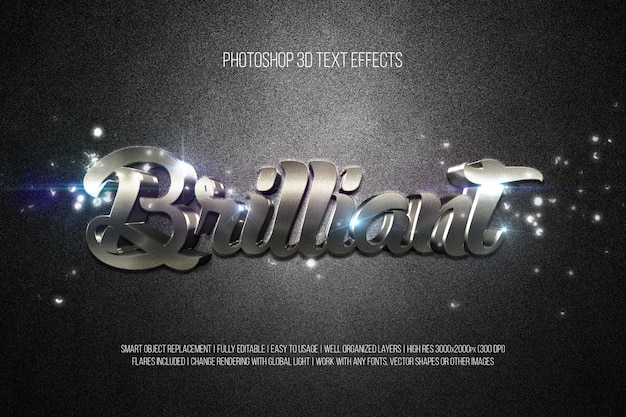 Effets de texte photoshop 3d brillant