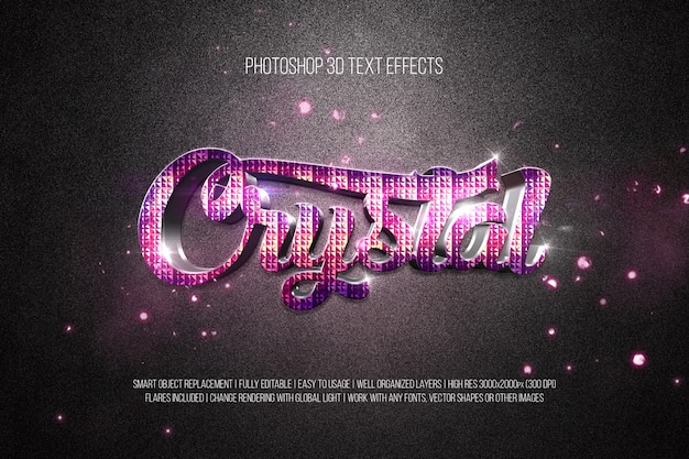 Effets de texte photoshop 3d crystal