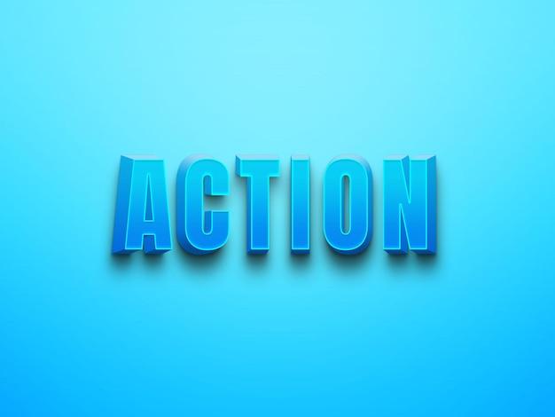 Effets de texte psd modifiables d'action de couleur bleue