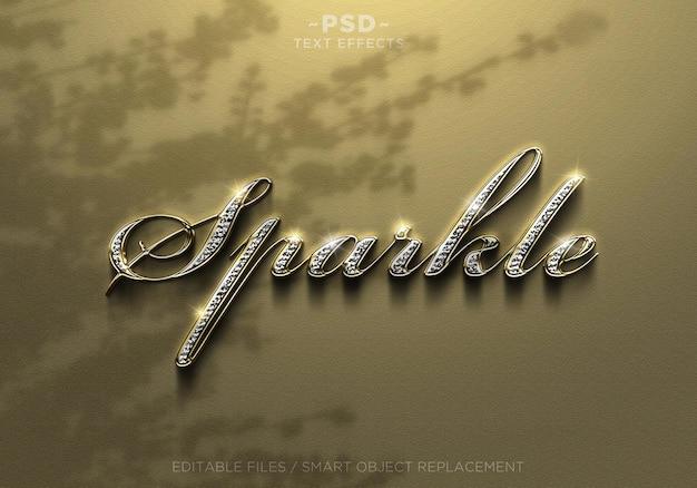 Effets de texte sparkle diamond gold