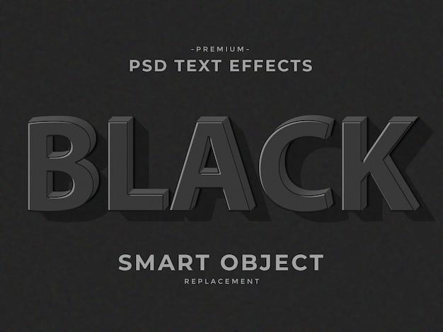 Effets de texte de style de calque 3d photoshop noir