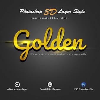 Effets de texte de style de calque photoshop 3d gold