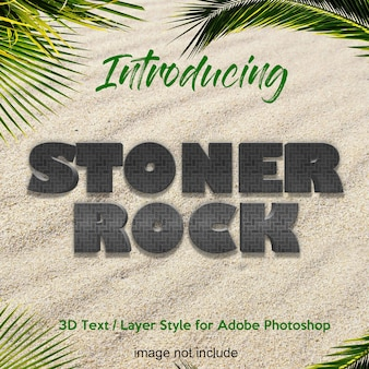 Effets de texte de style de calque photoshop 3d rock stone earth