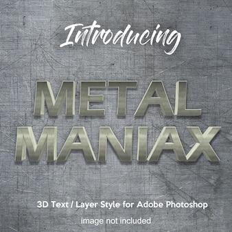 Effets de texte de style de couche photoshop 3d métal fer chrome