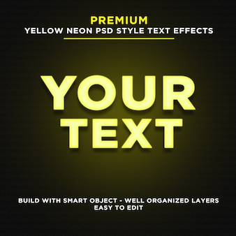 Effets de texte de style néon jaune