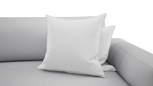 Élégant coussin gris sur canapé gris