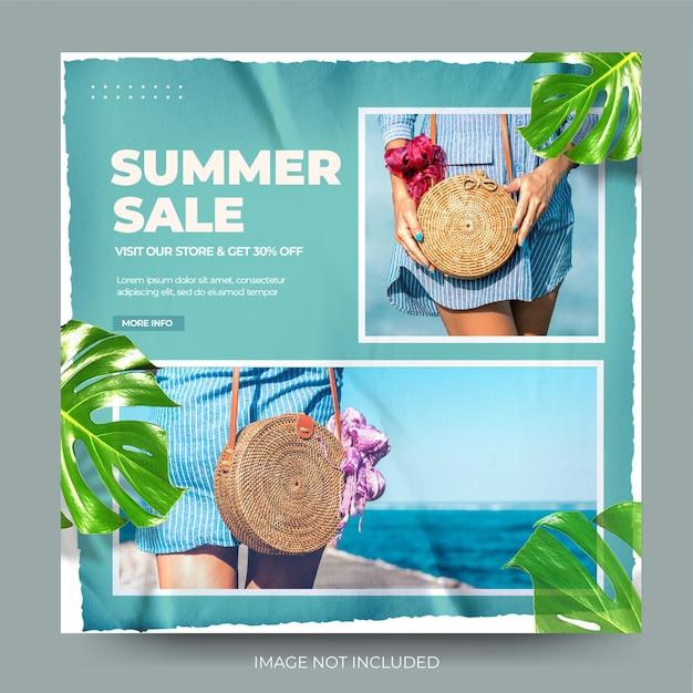 Élégant papier froissé bleu mode vente d'été instagram post feed