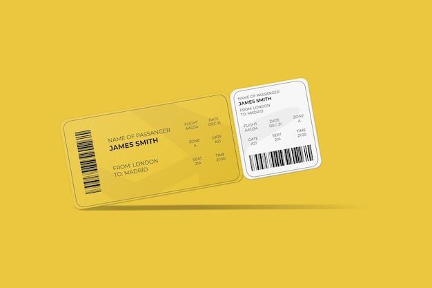Élégante conception de maquette de carte d'embarquement ou de billet d'avion aux coins arrondis