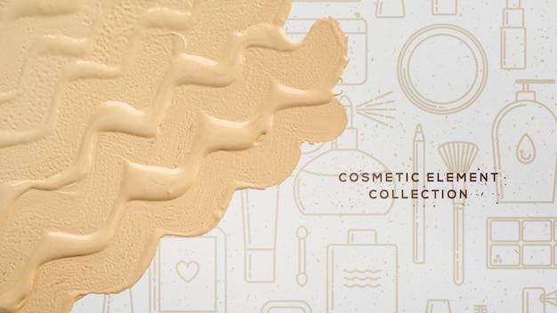 Éléments cosmétiques avec fondation