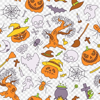 Éléments de fête d'halloween illustration de fond transparente motif ensemble d'icônes en dessin animé