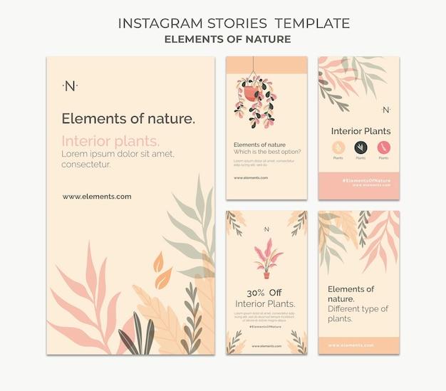 Éléments des histoires de médias sociaux de la nature