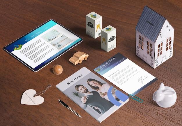 Éléments immobiliers, dossier corporatif d'entreprise, maison 3d, décoration