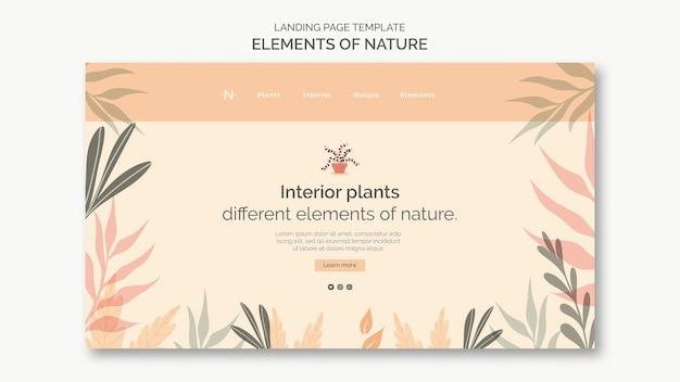 Éléments de la page de destination de la nature