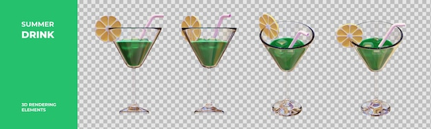 Éléments de rendu 3d de boisson d'été