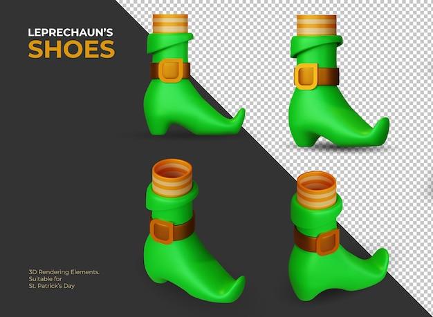 Éléments de rendu 3d des chaussures de leprechaun comme symbole de la saint-patrick