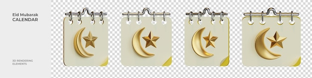 Éléments de rendu 3d du calendrier eid mubarak