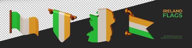 Éléments de rendu 3d du drapeau de l'irlande, adaptés à la saint-patrick