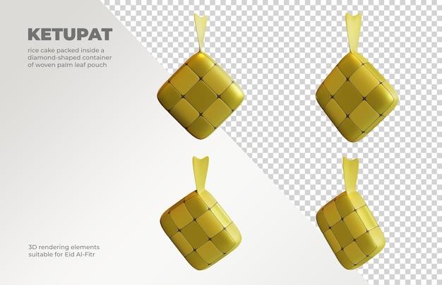 Éléments de rendu 3d ketupat