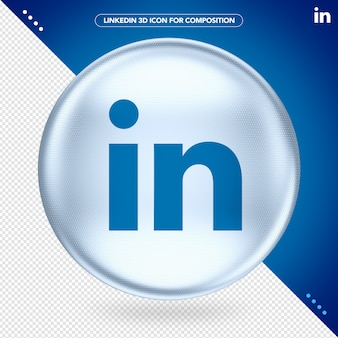 Ellipse icône blanc logo 3d linkedin
