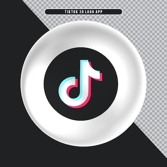 Ellipse icône blanche logo 3d tiktok