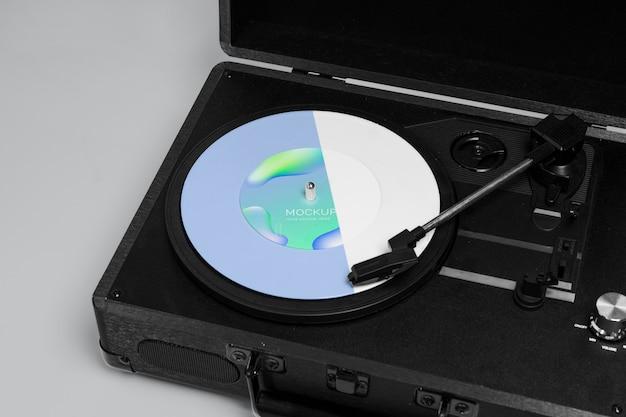 Emballage abstrait de disque vinyle maquette rétro